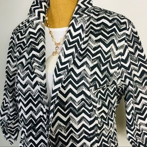 Chico's Open Front Black White Cotton Blazer Sz3